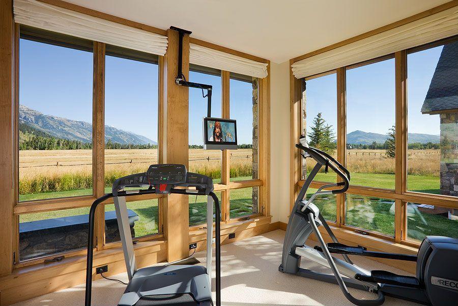 Craftsman Home Gym with Yowza fitness captiva elliptical, Pottery barn carson linen/cotton cordless roman shade