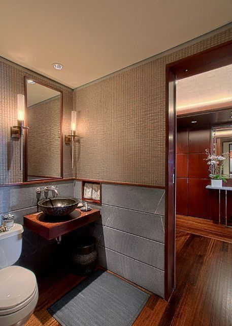 Modern Powder Room with Pental  brazilian black slate, Powder room, Wall sconce, Magic 1-light wall light, Standard height
