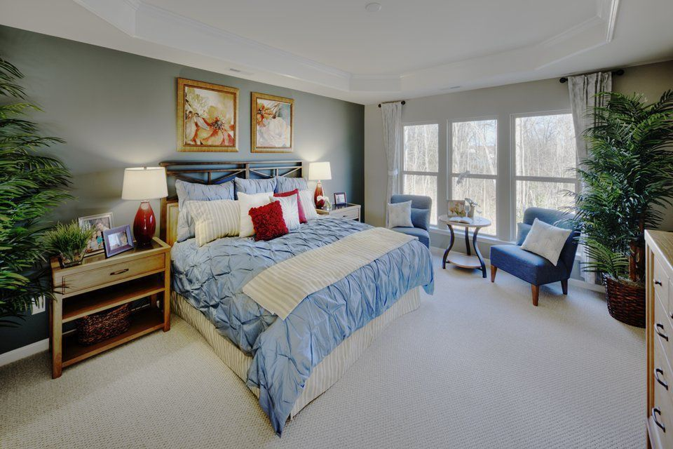 Traditional Master Bedroom with Art desk, picture window, Carpet, Standard height
