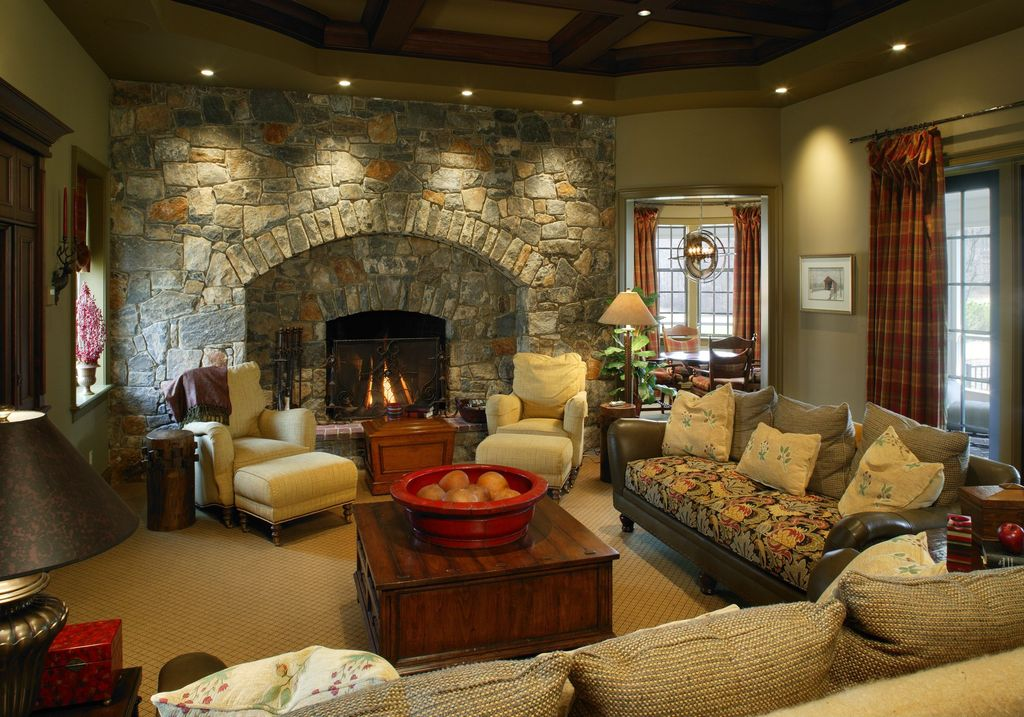 Eclectic Living Room with stone fireplace, Carpet, Standard height, can lights, Stacked stone wall, Exposed beam, Paint