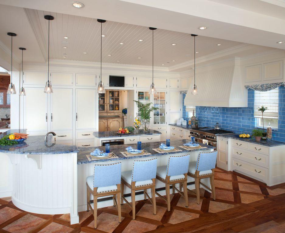 Contemporary Kitchen with Clay Terra Cotta Pot, Standard height, Crown molding, Casement, Kitchen island, Custom hood, Flush