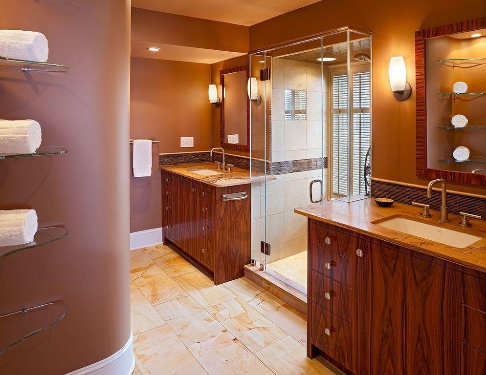 Modern Master Bathroom with large ceramic tile floors, Handheld showerhead, Complex Granite, three quarter bath, Paint 1