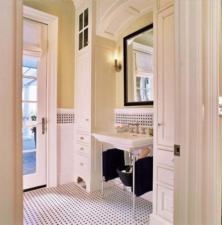 Traditional Powder Room with Wainscoting, Flat panel cabinets, Inset cabinets, ceramic tile floors, Roman shades, Powder room