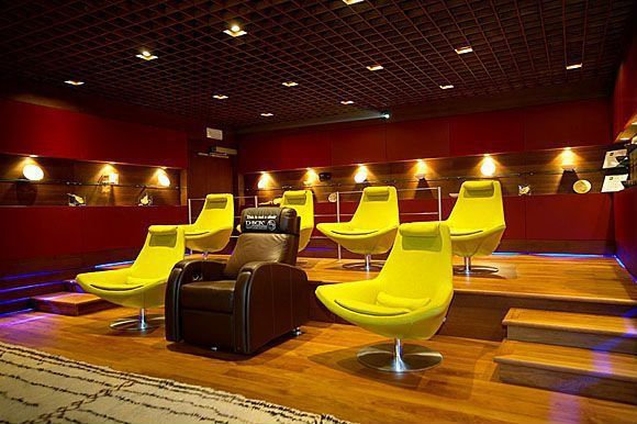 Contemporary Home Theater with Standard height, Acoustic ceiling, Built-in bookshelf, Hardwood floors, can lights
