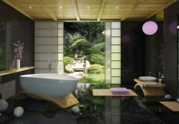 Contemporary Full Bathroom with Oriental furniture 2-panel natural indoor privacy screen, Bathtub, Wood counters, Vessel sink