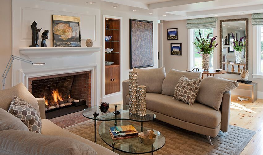 Traditional Living Room with Laminate floors, brick fireplace, Fireplace, Standard height, can lights