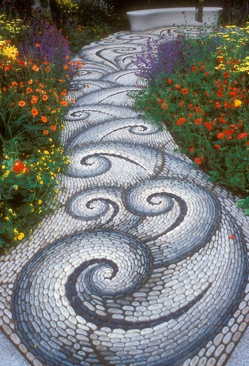 Eclectic Landscape/Yard with Pathway, Greek wave tile, Pebble floor, Custom tile mosaic