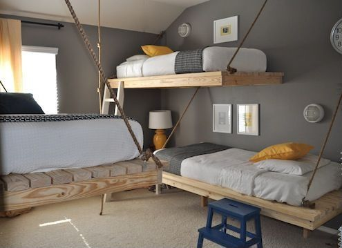 Contemporary Kids Bedroom with Standard height, Paint 2, specialty window, Carpet, Paint, West elm perfect throw, Bunk beds