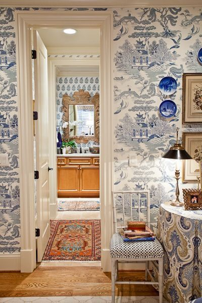 Traditional Guest Bedroom with six panel door, Hardwood floors, Standard height, Crown molding, interior wallpaper
