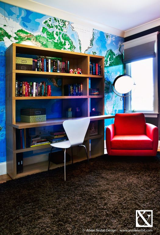Modern Kids Bedroom with Paint, Red Leather Club Chair, Copper Spotlight Floor Lamp
