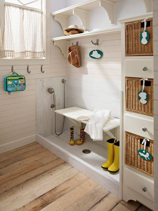Cottage Mud Room with Samantha narrow bookcase, Ekby hemnes / ekby stilig, Samantha seagrass baskets, Cast-iron row of hooks
