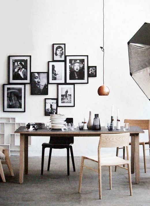 Contemporary Dining Room with Seville simple dining table, Crest bentwood chair, Gallery wall, Matte black 8x10 frame