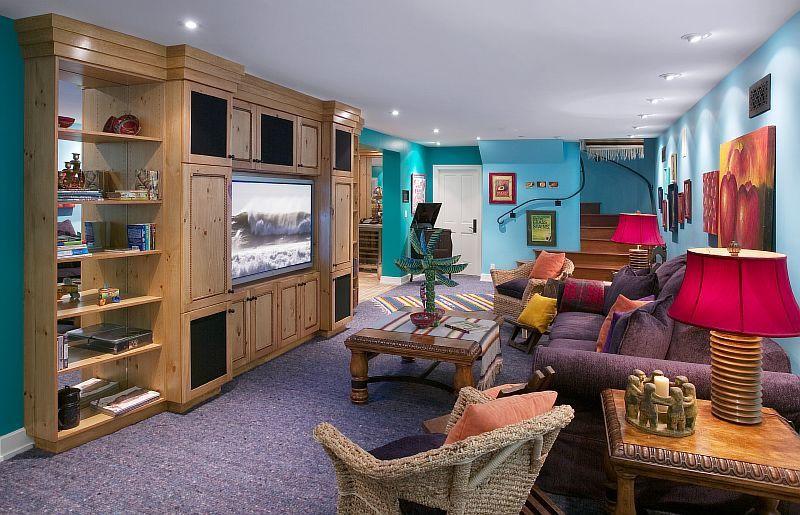 Contemporary Living Room with six panel door, Standard height, can lights, Carpet, Built-in bookshelf