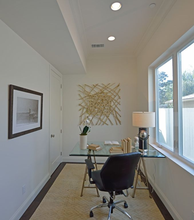 Contemporary Home Office with Carpet, picture window, Coaster world map writing desk in nickel, Standard height, flat door