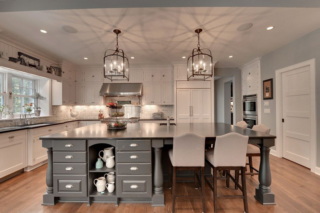 Traditional kitchen with kitchen island flat panel for International kitchen designs