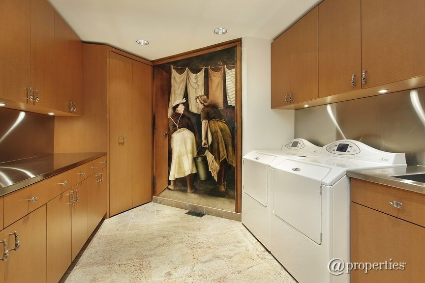 Contemporary Laundry Room with Daltile natural stone collection crema marfil 12 in. x 12 in. marble floor and wall tile
