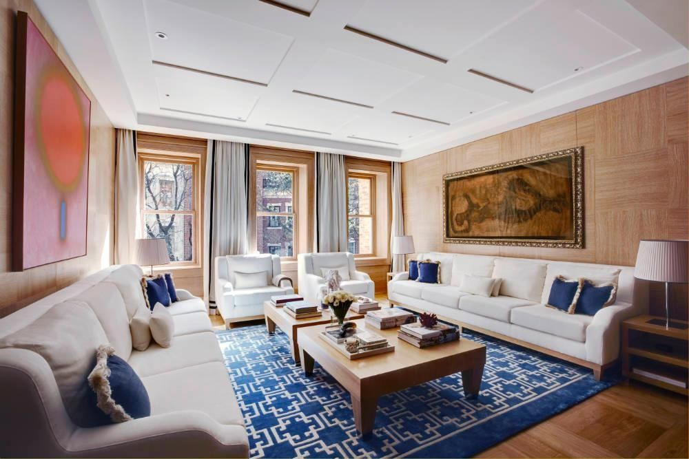 Contemporary Living Room with Hardwood floors, Casement, can lights, Box ceiling, Standard height