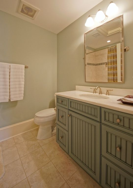 Cottage Full Bathroom with Simple marble counters, wall-mounted above mirror bathroom light, Raised panel, Standard height