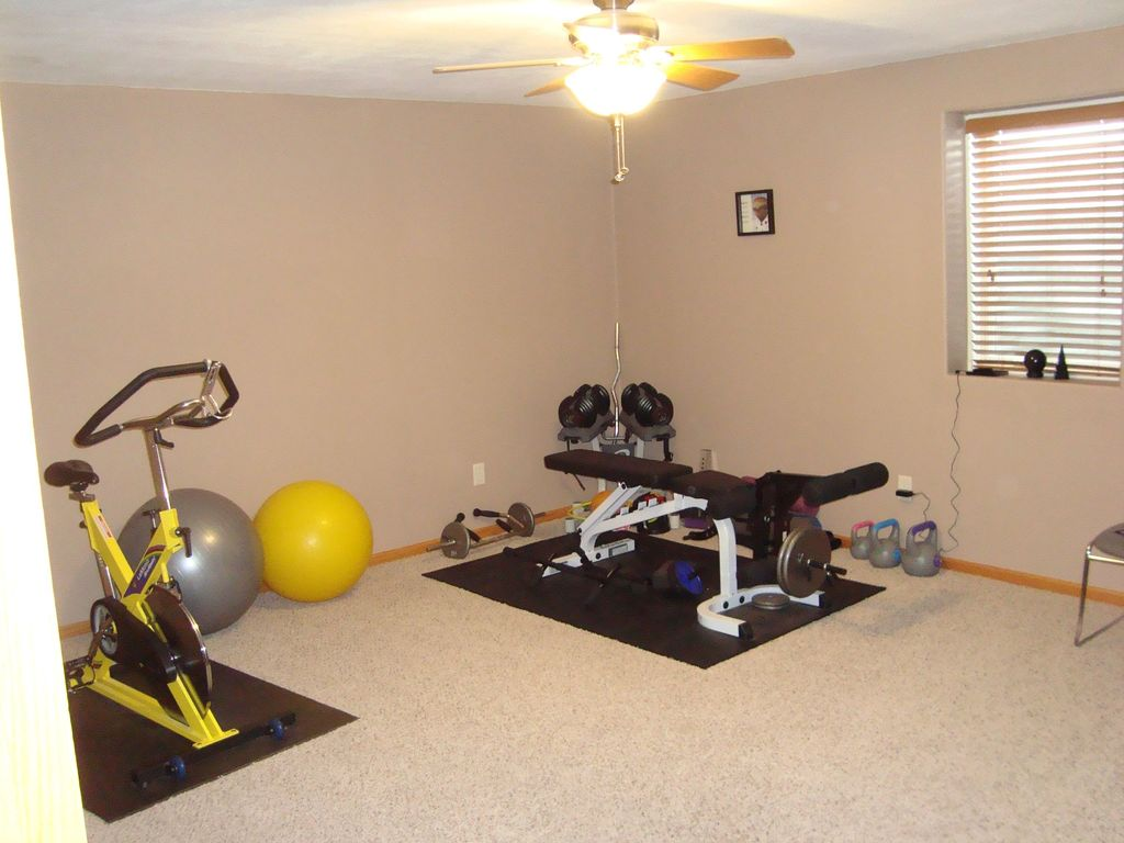 Craftsman Home Gym with Standard height, Ceiling fan, Carpet