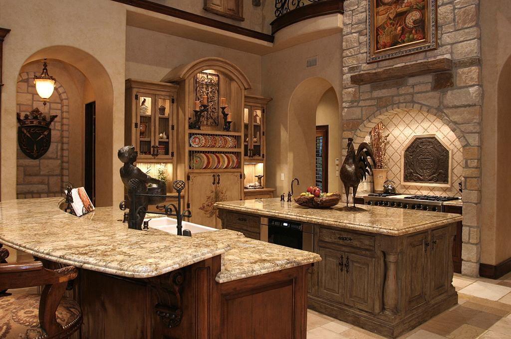 Mediterranean Kitchen with Paint, Arched doorway, Custom hood, Glass panel, Vinyl floors, flush light, Framed Partial Panel