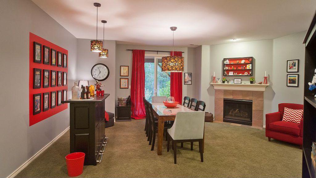 Contemporary Bar with stone fireplace, Standard height, can lights, Fireplace, Carpet, Pendant light, sliding glass door
