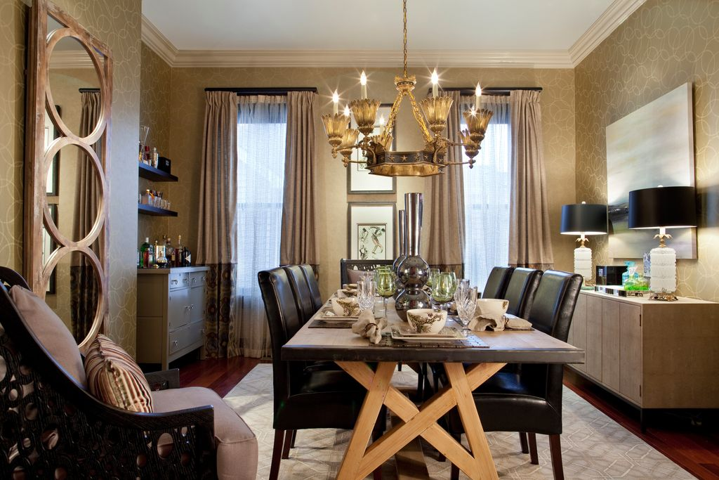 Traditional Dining Room with double-hung window, Standard height, interior wallpaper, Crown molding, Chandelier