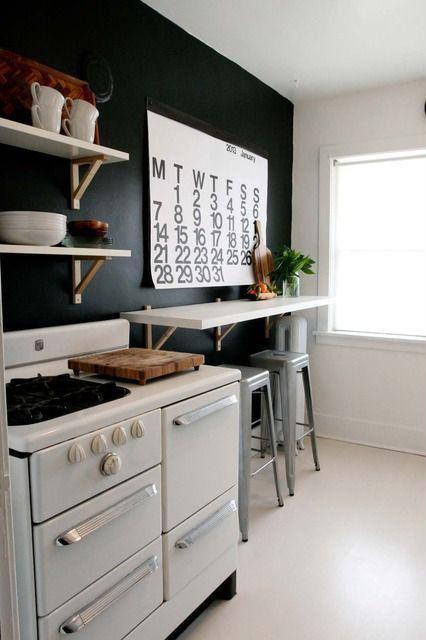 Contemporary Kitchen with Ikea Ekby Hemnes Wall Shelf, double-hung window, Standard height, Linoleum flooring, Paint