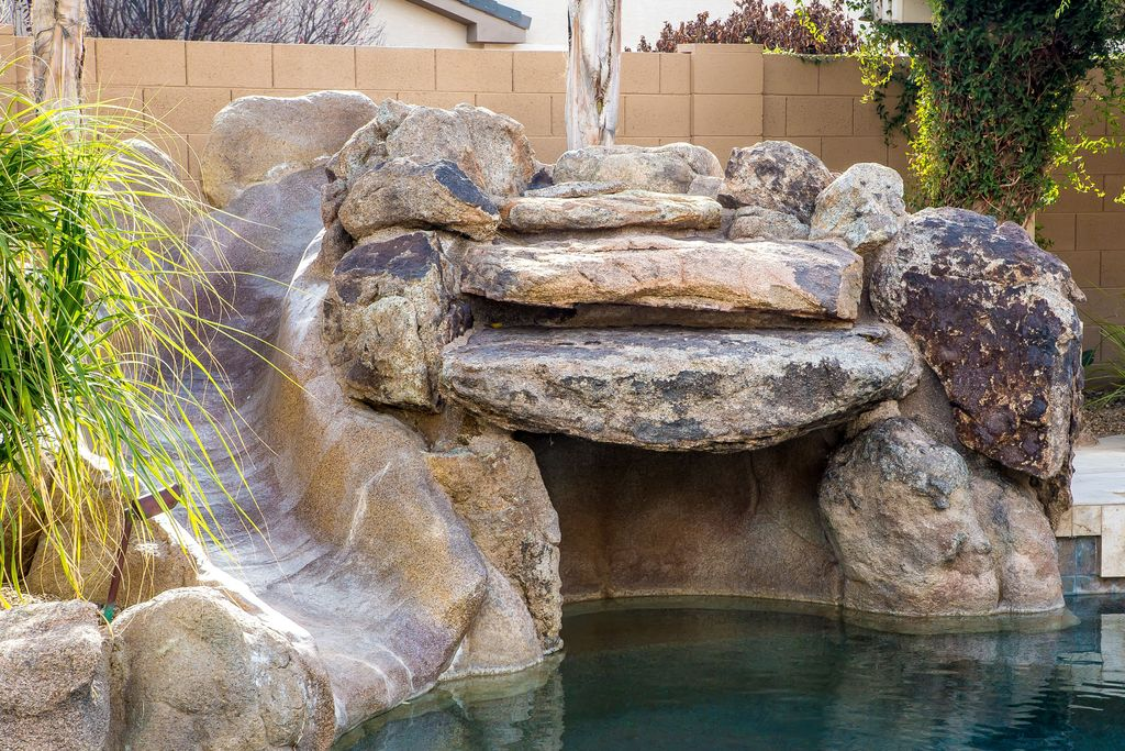 Rustic Swimming Pool with Inground pool, Outdoor pool, Built in waterslide, Other Pool Type, Water slide, Fence, Paint