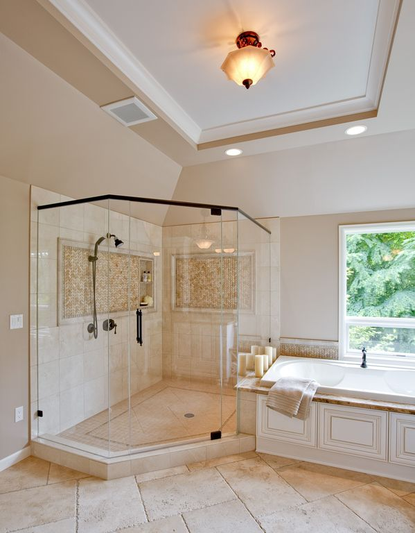 Traditional Master Bathroom with flush light, Standard height, Paint, Concrete tile , Tray ceiling, Porcelain tile