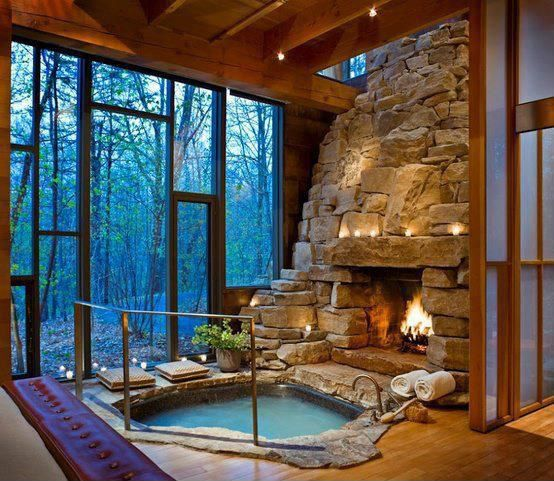 Contemporary Hot Tub with Exposed wood ceiling, Exposed beam ceiling, Sunken bathtub, stone fireplace