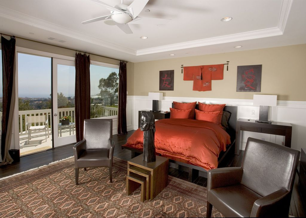 Contemporary Master Bedroom with Wainscotting, Vermont nesting tables, Hardwood floors, French doors, Chair rail, Ceiling fan