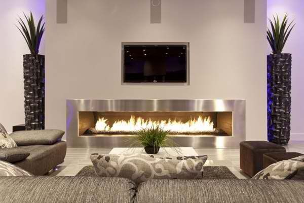 Contemporary Living Room with Modern linear fireplace, Fireplace, Custom modern linear fireplace, Standard height, Paint 1