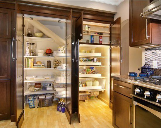 "Contemporary Pantry with Mullican Flooring Maple Natural 3/4"" Thick 3"" Wide, Tall cabinet doors for built in pantry"