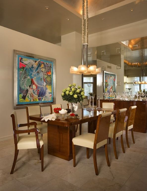 Modern Dining Room with High ceiling, simple granite floors, can lights, Chandelier, Crown molding