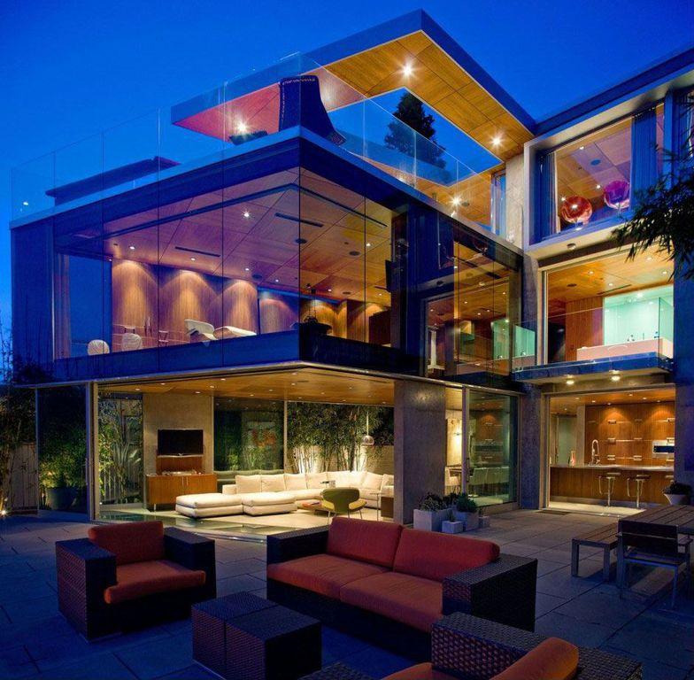 Contemporary Patio with Glass railing, sliding glass door, exterior concrete tile floors, Deck Railing, exterior tile floors