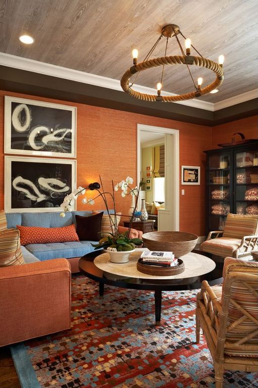 Contemporary Living Room with wood patterned  wall paper, Bamboo floors, Wide Wood Plank Wallpaper, can lights, Chandelier