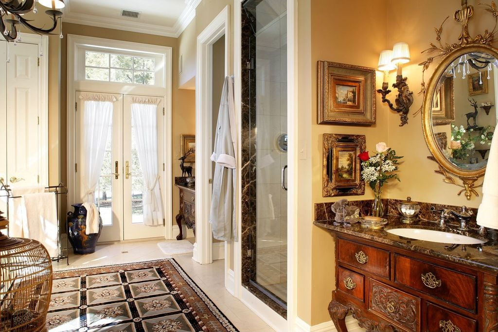 Traditional Master Bathroom with Inset cabinets, Flat panel cabinets, Standard height, Crown molding, Transom window, Shower