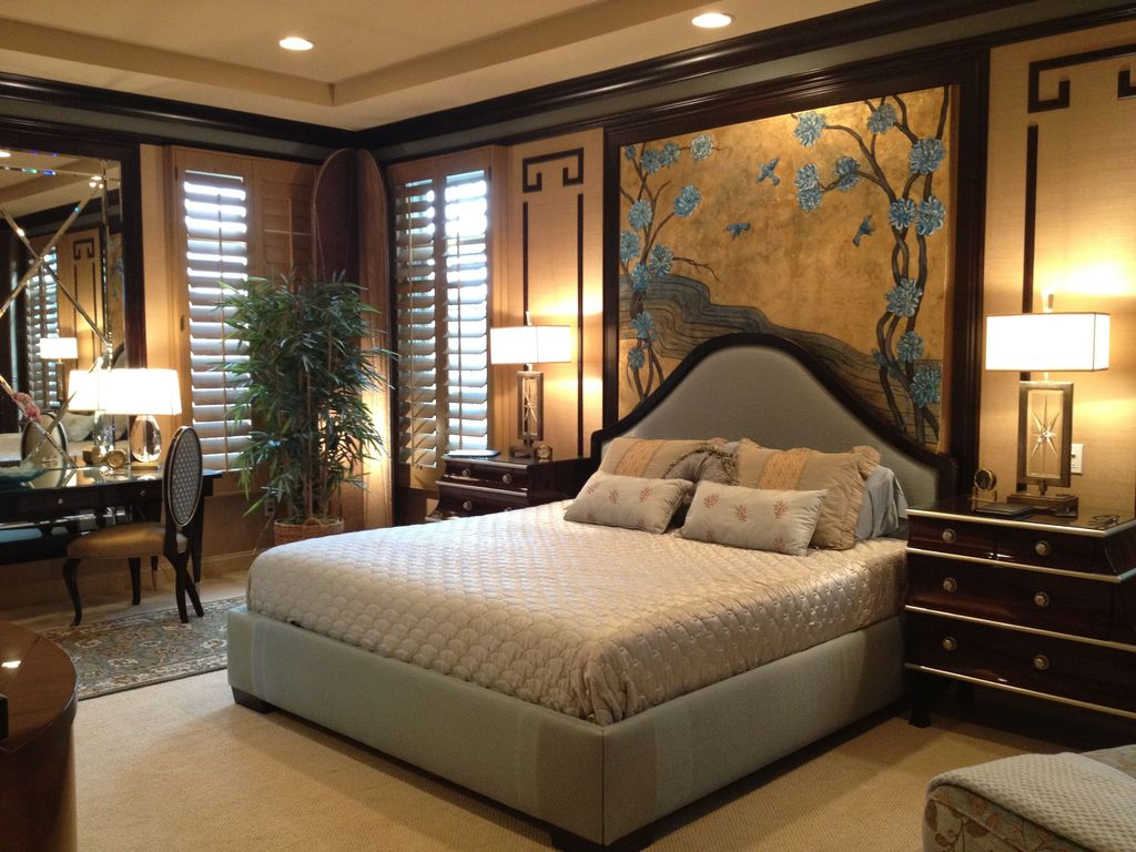 Traditional Master Bedroom with Upholstered bed and headboard, Mural, Carpet, Standard height, can lights, specialty window