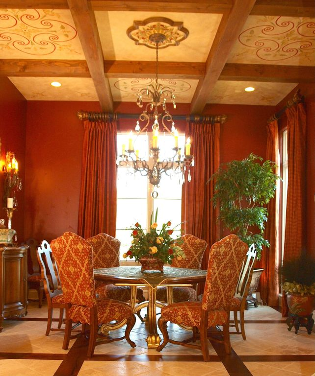 Traditional Dining Room with Claw foot dining table, Paint 2, Chandelier, Paint, House plants, ceramic tile floors