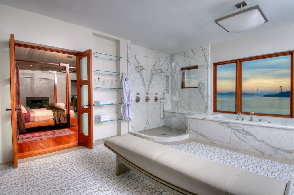 Contemporary Master Bathroom with Paint, Double shower head, Standard height, Artistic tile - calacatta gold shower, Casement