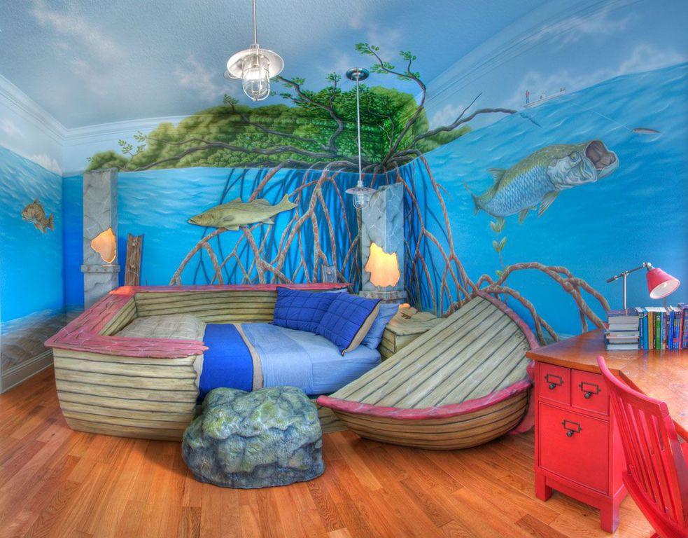 Country Kids Bedroom with no bedroom feature, Mural, Pendant light, Standard height, Hardwood floors