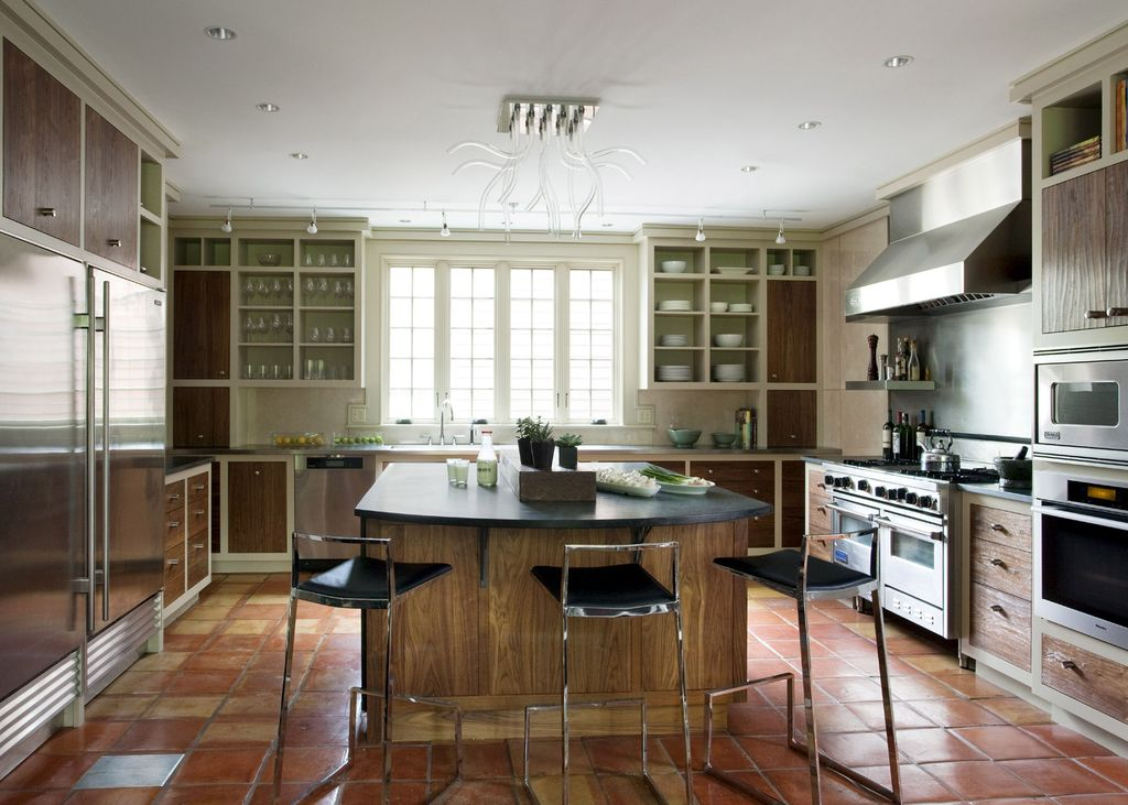 "Contemporary Kitchen with Nuevo genoa 25.5"" bar stool, Eurofase lighting 20 light kasper flush mount ceiling light"
