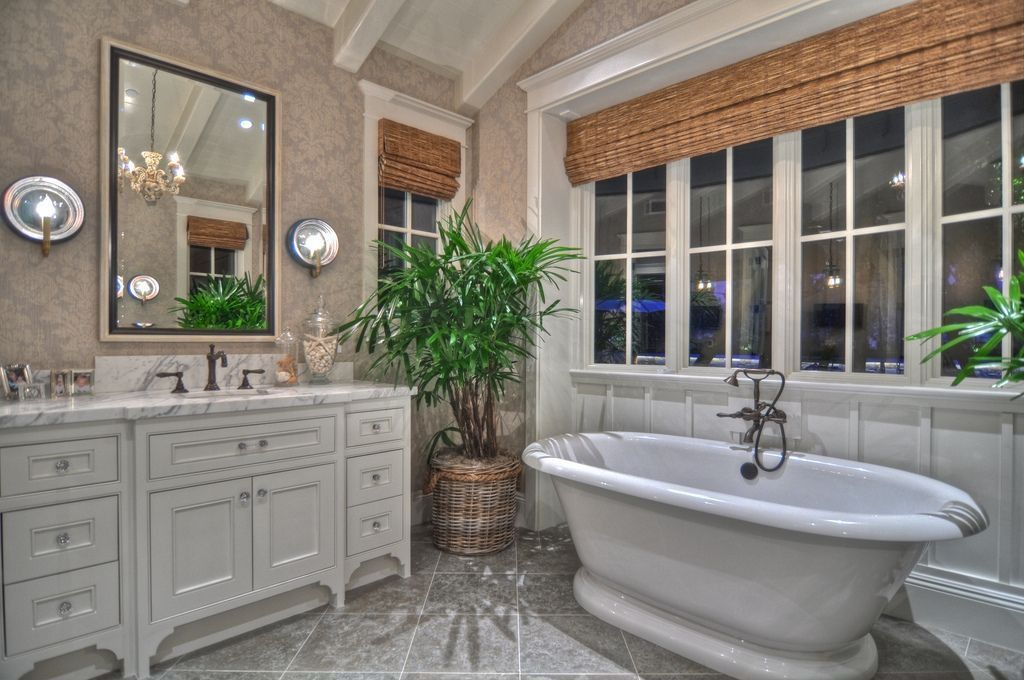 Traditional Master Bathroom with Pierre Freestanding Tub Faucet, Supplies & Valves, Honed Arabescato Vagli Marble