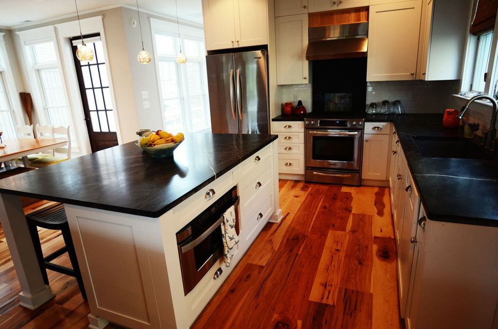 Modern Kitchen with Wall Hood, Paint 2, gas range, Framed Partial Panel, full backsplash, Standard height, Paint 3, Paint 1
