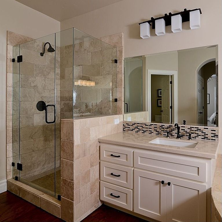 Modern 3/4 Bathroom with Ceramic Tile, wall-mounted above mirror bathroom light, Rain shower, Framed Partial Panel, Shower