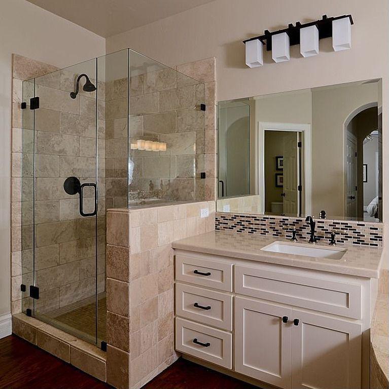 Modern 3/4 Bathroom with six panel door, three quarter bath, frameless showerdoor, Complex marble counters, Standard height