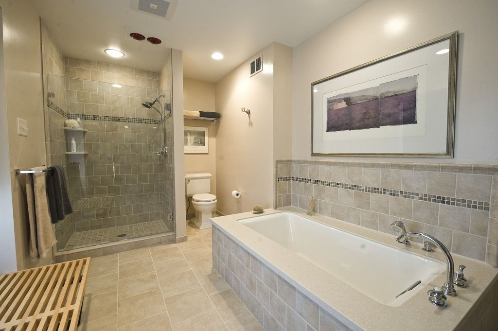 Contemporary Master Bathroom with Ceramic Tile, Paint, Standard height, Handheld showerhead, frameless showerdoor, Shower