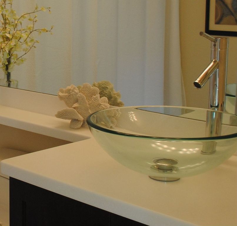 Contemporary Full Bathroom with Moen Level One Handle Lavatory Vessel Faucet, Corian designer white