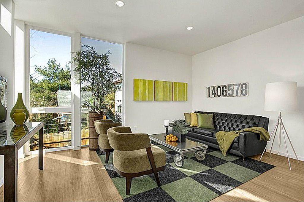 Contemporary Living Room with Artcraft mercer street chrome tripod floor lamp white shade