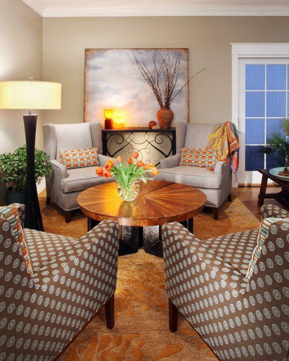 Modern Living Room with sliding glass door, Crown molding, Hardwood floors, Standard height